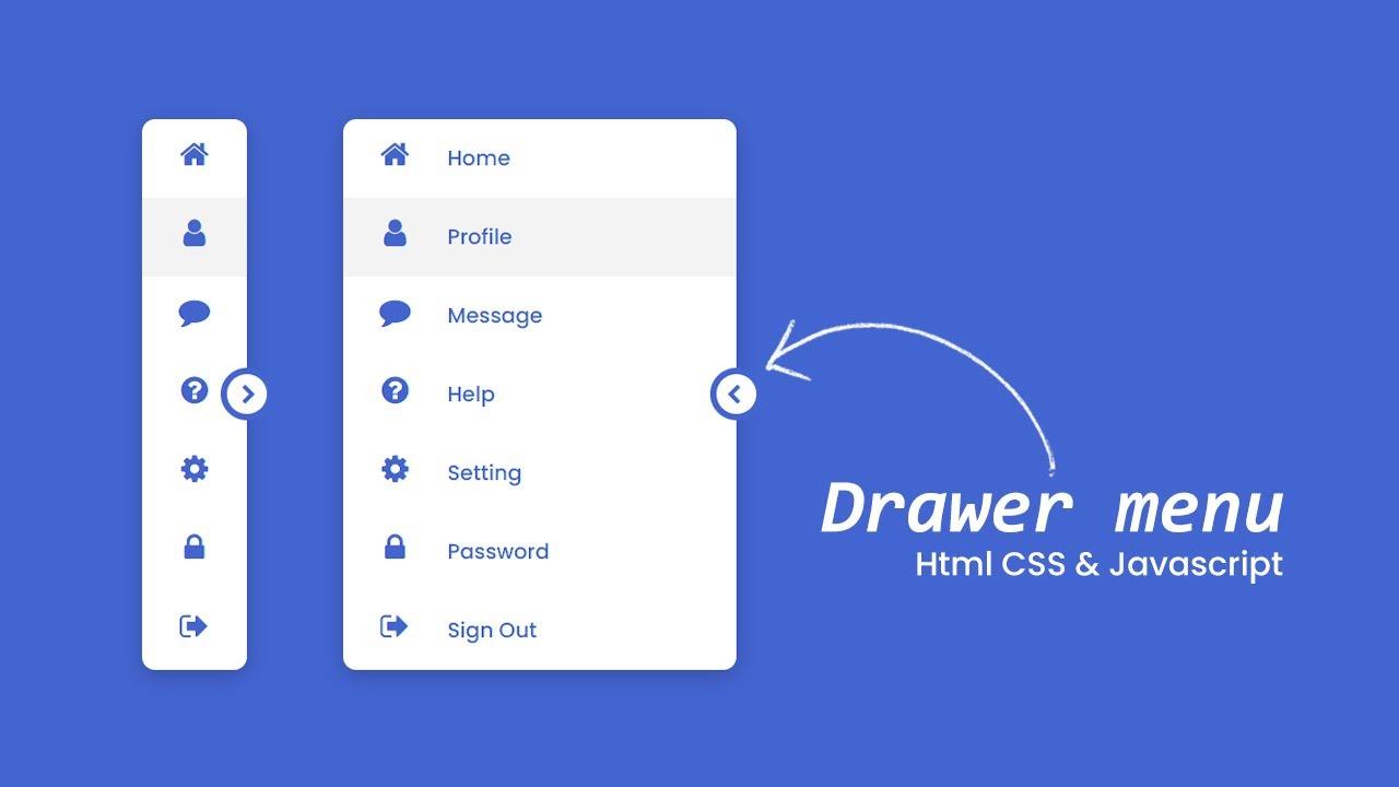 Responsive Navigation Drawer using HTML CSS & Javascript   Drawer Menu
