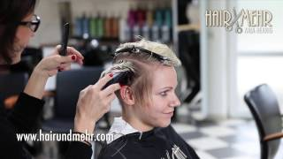 short pixie haircut, undercut extreme hair makeover & dying blonde by Anja Herrig