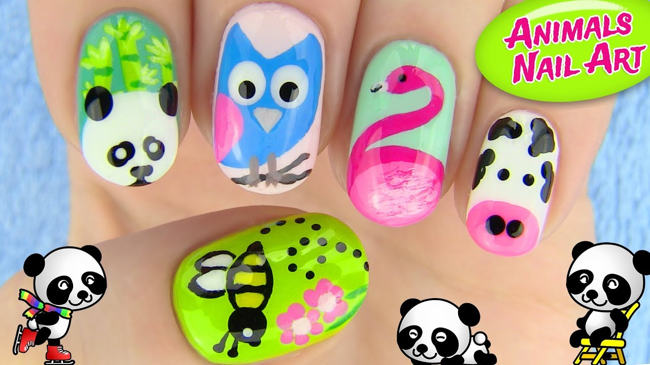 Animals Nail Art 5 Nail Art Designs Youtube