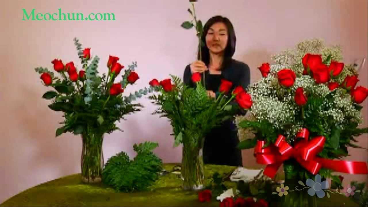 Hướng dẫn cách cắm hoa hồng