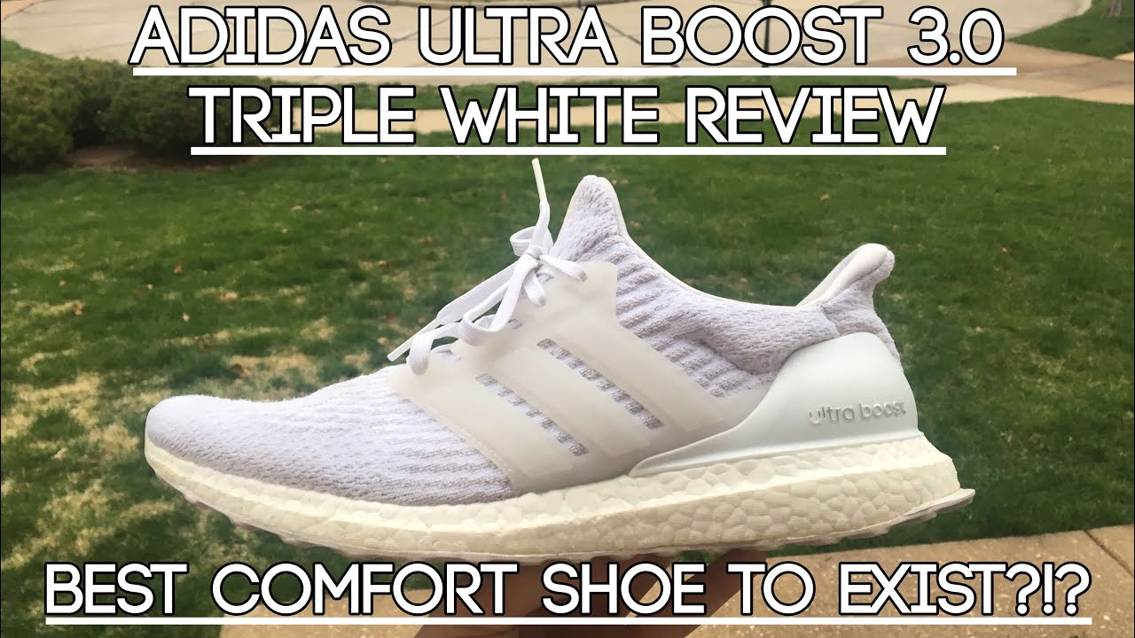 53186ecf403d4 Adidas Ultra Boost 3.0 Triple White Review - YouTube