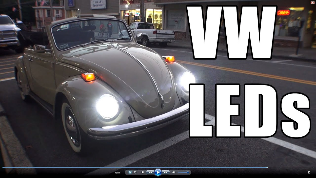 Classic Car Light Bulbs: Classic VW BuGs How to Install LED Headlight Lighting Review Vintage Beetle  Car - YouTube,Lighting