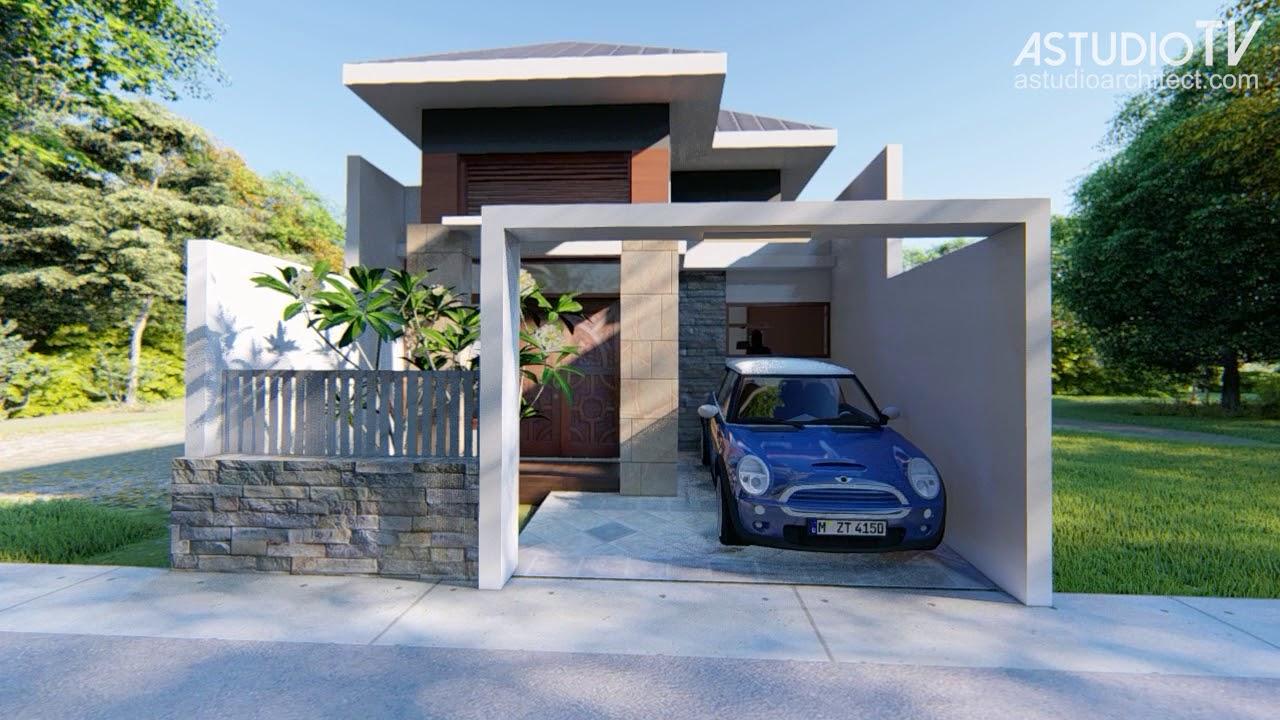 Desain Rumah Satu Lantai Lahan 6x18 kode 018 - YouTube