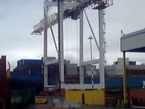 Container Crane Loading a Ship at The Port of Wellington.