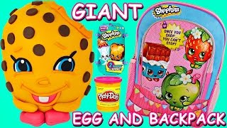 Shopkins Surprise Toy Backpack + Giant Shopkins Play Doh Surprise Egg! Back to School Eggs & Toys