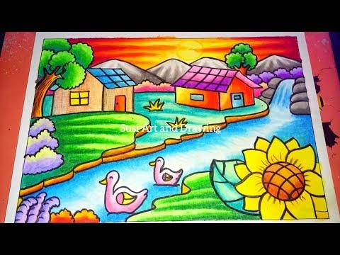 Cara Menggambar Dan Mewarnai Gradasi Pemandangan Gunung Sungai Dan