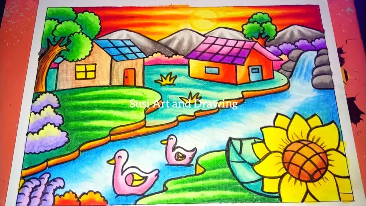 Cara Menggambar Dan Mewarnai Pemandangan Alam Rumah Air Terjun Dan Pegunungan