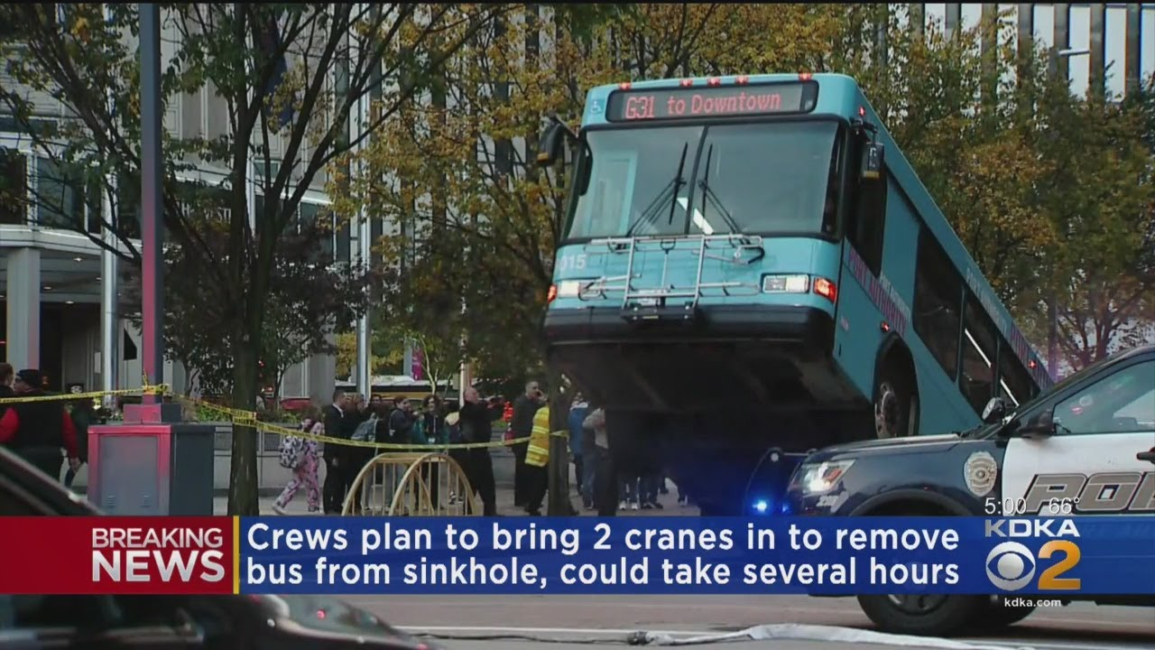 Bus Swallowed Up By Massive Sinkhole In Downtown Pittsburgh