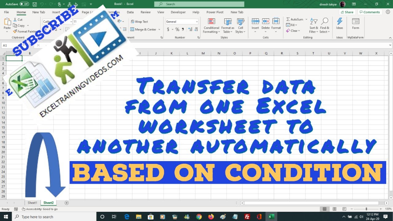 Worksheets Active Worksheet Vba transfer specific worksheet range data from one to another based on condition youtube