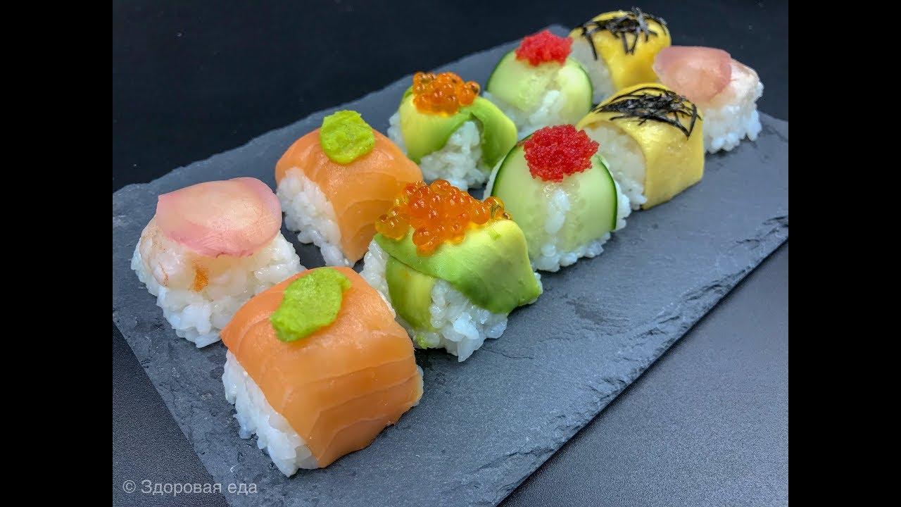 Простые «Суши» |  Закуски с икрой, красной рыбой, креветками и авокадо | Суши дома
