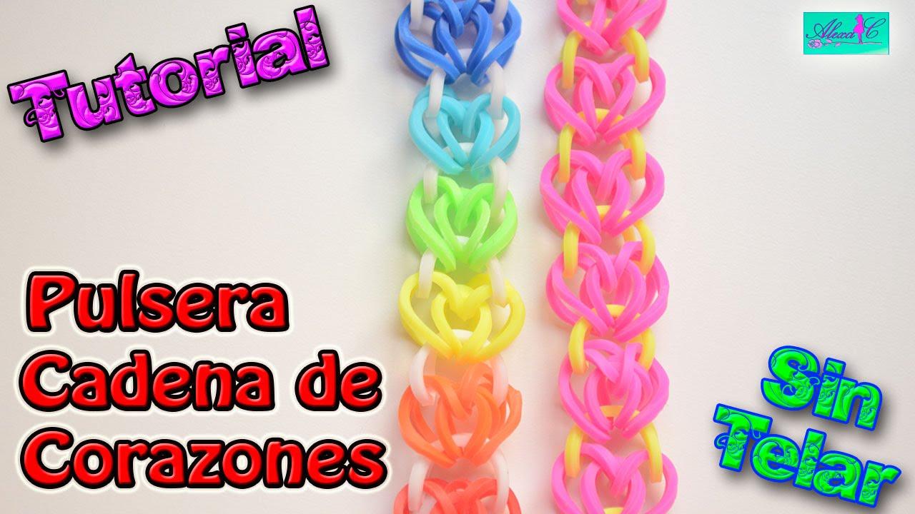 b4800421644b ♥ Tutorial: Pulsera Cadena de Corazones de gomitas (sin telar) ♥
