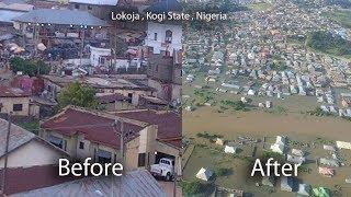 Lokoja , Kogi State, before and after the floods, Benue River, Niger river floods,