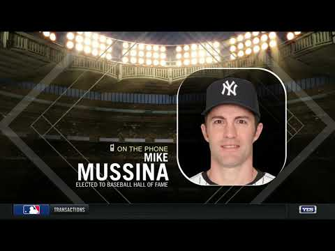 Mike Mussina reacts to his 2019 Hall of Fame induction