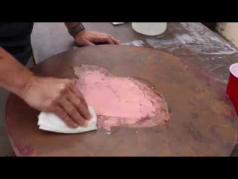 Cleaning a copper table