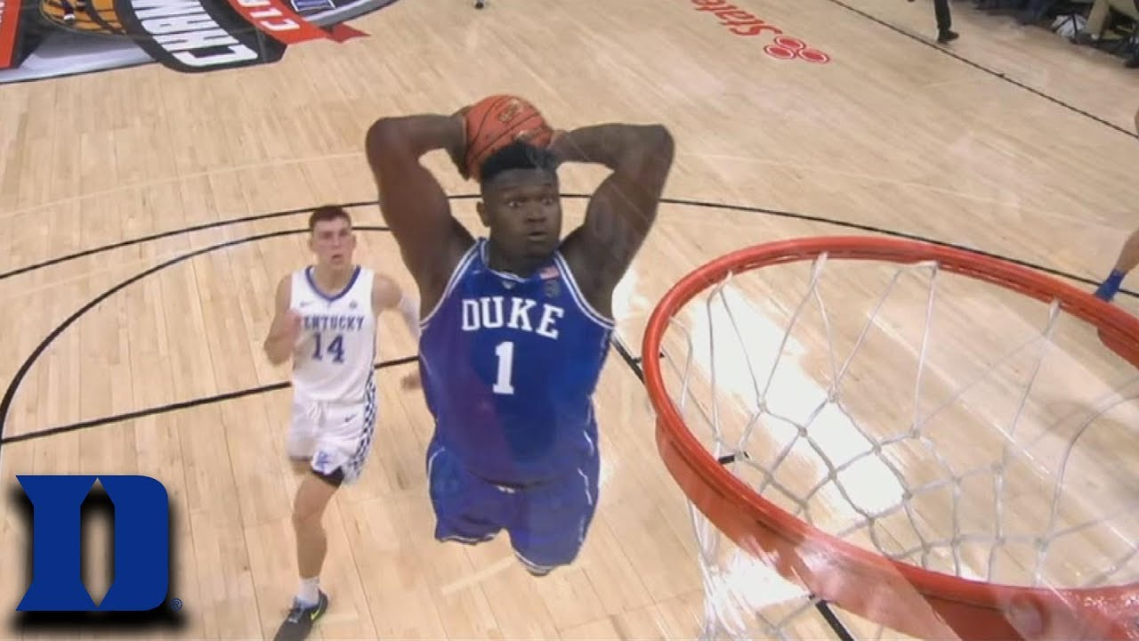 21add4281da Duke's Zion Williamson Hammers Two-Hand Dunk vs. Kentucky - YouTube