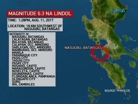 24 Oras: Magnitude 6.3 na lindol, yumanig sa Nasugbu, Batangas at nadama sa mga karatig-lugar