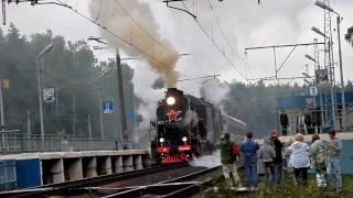 Паровозы Л-2344 и Эр 774-38 с ретропоездом (пл. Циолковская)