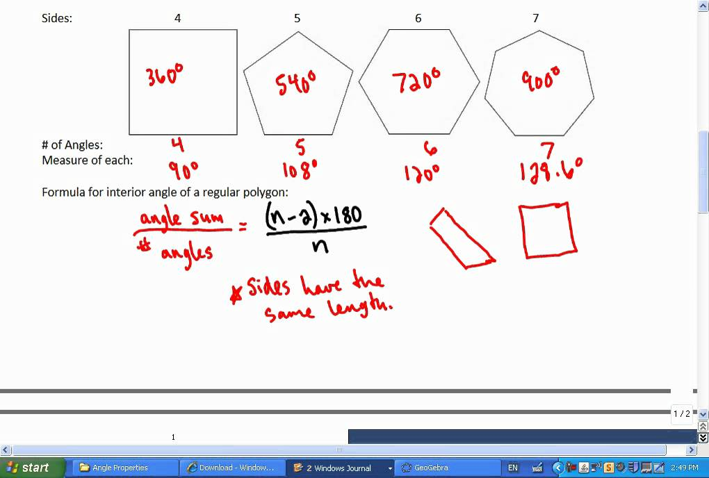 Mr Joyce Foundations Of Math 11 Angle Properties Of Polygons Youtube