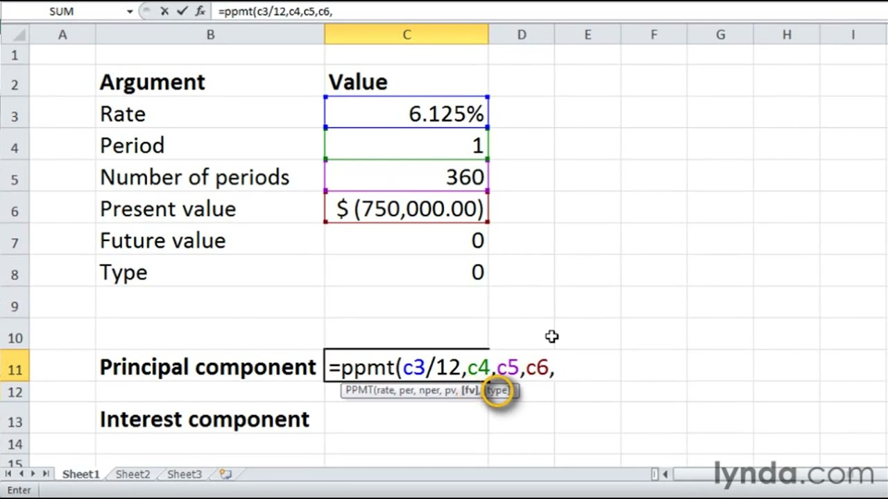 calculate loan payments excel