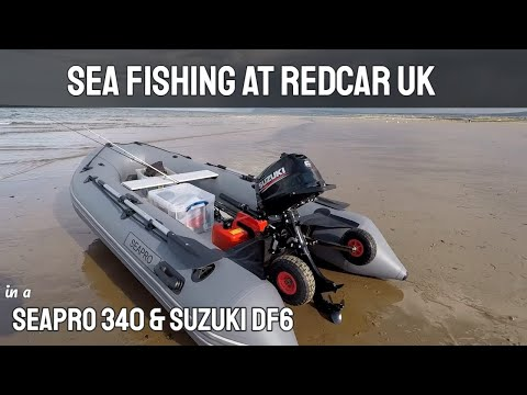 Sea Fishing At Redcar In A Seapro 340 Inflatable Boat & Suzuki 6HP Outboard Motor