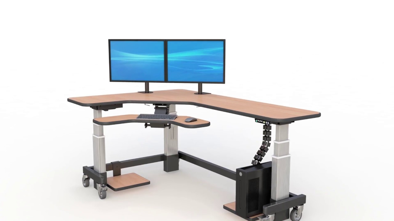 corner standing desk with two monitor arm stands youtube. Black Bedroom Furniture Sets. Home Design Ideas