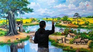 ĐT:0969.033.288/ Vẽ tranh tường 3d phong cảnh đồng quê. Đào tạo các khóa học vẽ tranh.