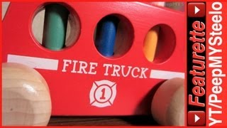 Wood Fire Truck Toys For Toddlers W/ Pop Up Toy Figures For Hand Eye Coordination & To Learn Colors