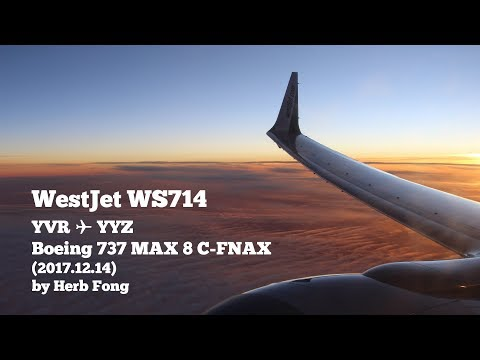 WestJet Boeing 737 MAX 8 on WS714 Vancouver YVR ✈ YYZ Toronto (2017.12.14) // with cockpit photo!
