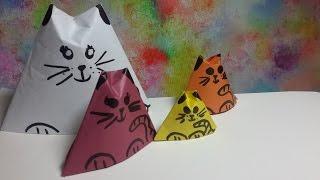 Как Сделать Кошку Матрёшку из бумаги!(Привет феечки!❤Сегодня я вам покажу,как сделать из бумаги очень простую оригами