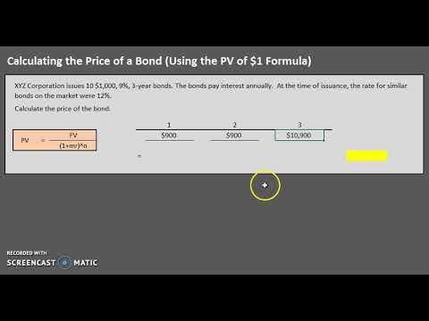 Calculating The Price Of A Bond (Basic - Formula Method)