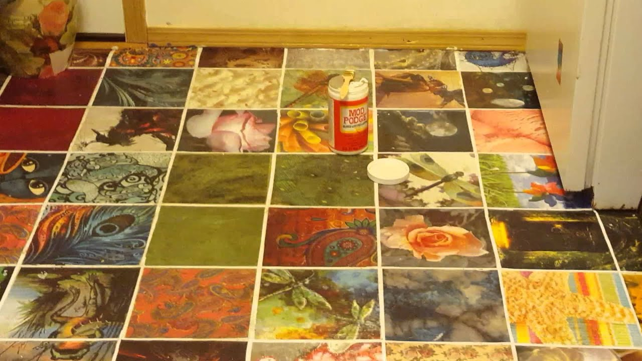 Decoupage on the kitchen floor part 2 youtube for On the floor on the floor