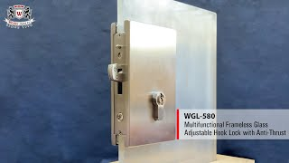 WEIDER - WGL-580 Multifunctional Frameless Glass Adjustable Hook Lock with Anti-Thrust