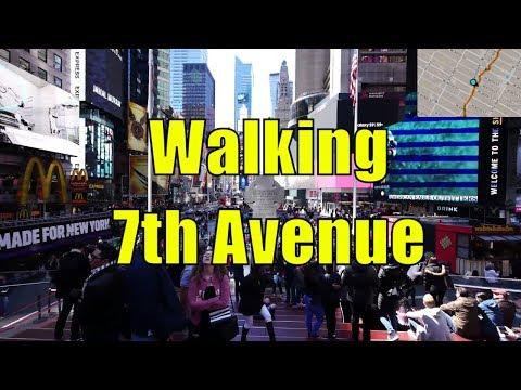 ⁴ᴷ Walking Tour of Midtown, Chelsea, & Greenwich Village, Manhattan, NYC - 7th Avenue (GPS Overlay)