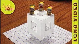 How To Draw 3D Hole in Floating Cube - Very Easy 3D Trick Art on paper- LONG VIDEO -