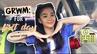 SCHOOL MORNING ROUTINE / GRWM: first day of school + vlog || Catherine Villanueva