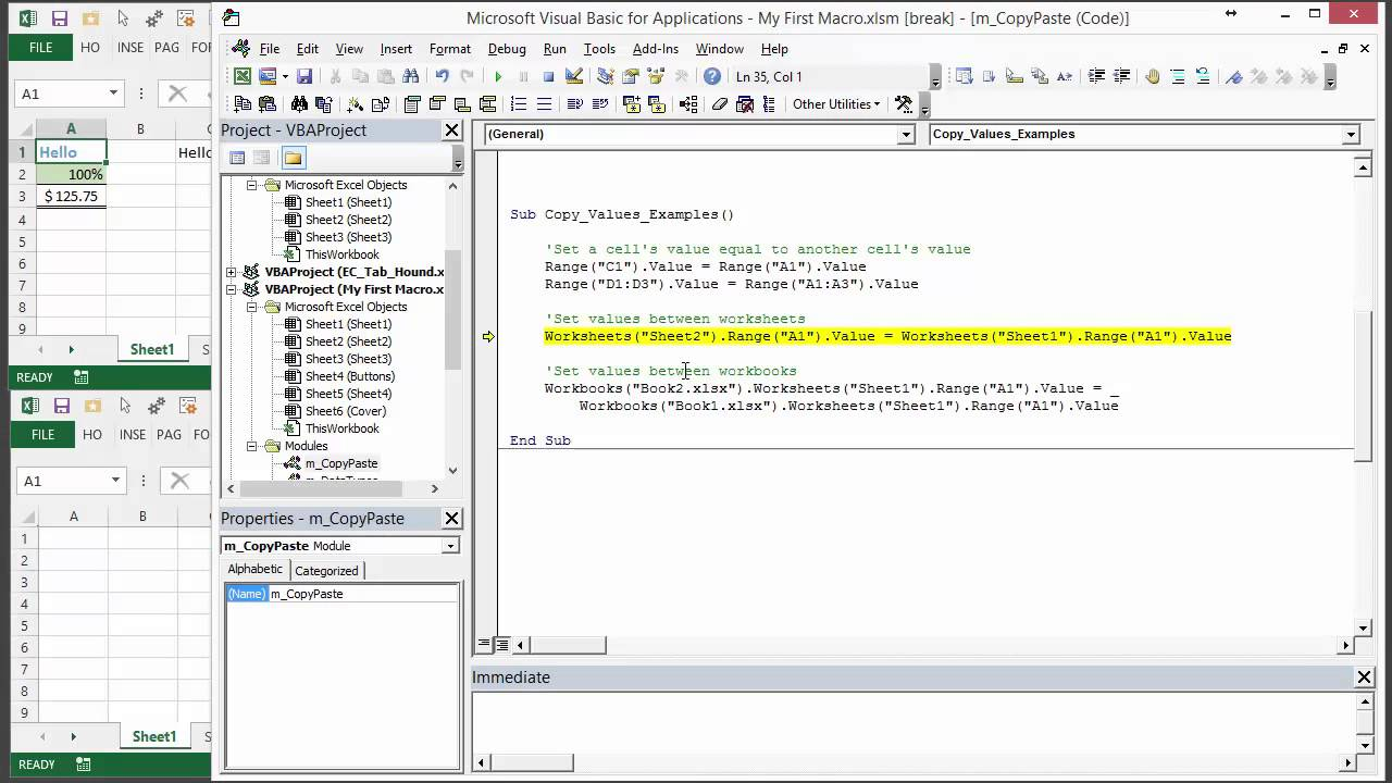 How to write vba