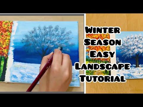 Easy || Acrylic Painting || winter Season || Landscape || Tutorial part 2