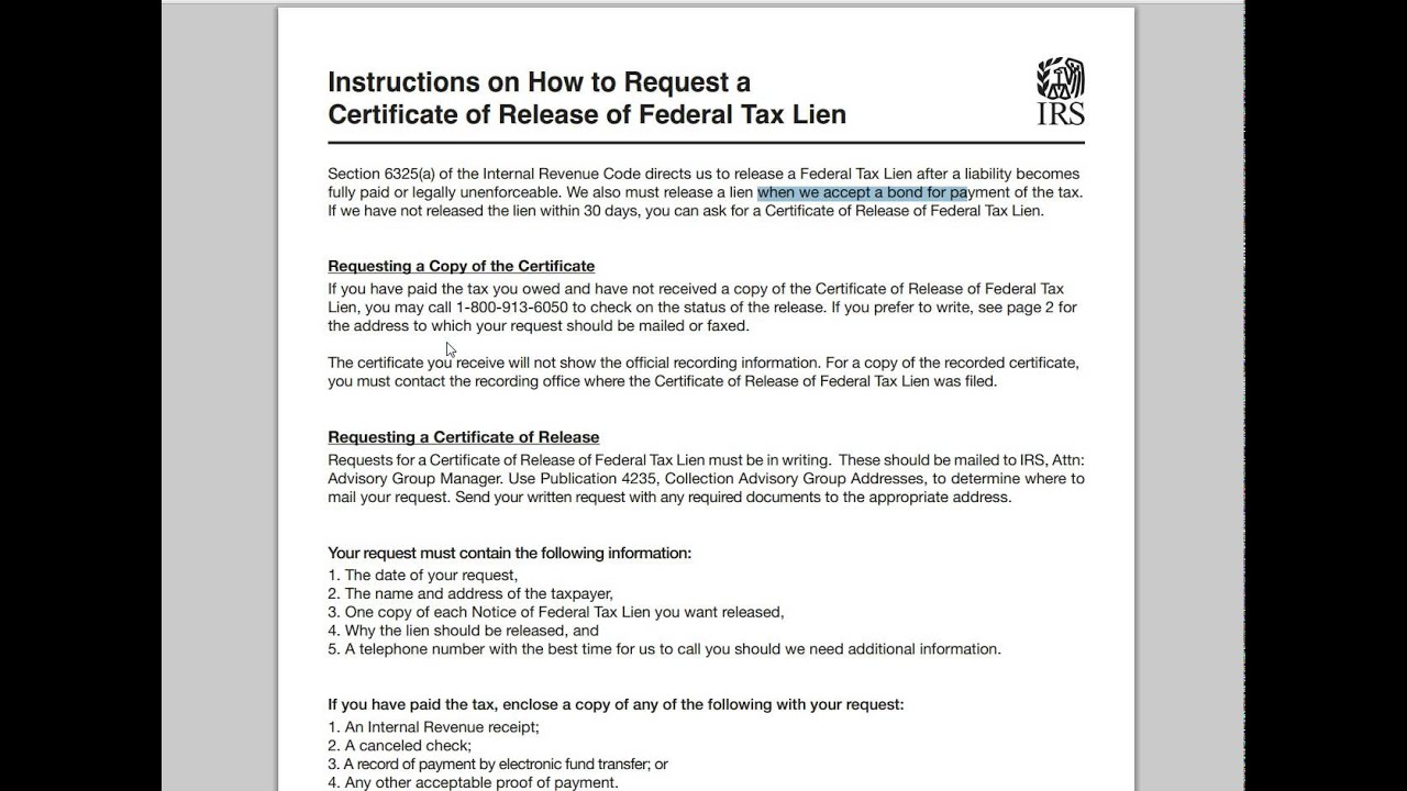 How To Release A Federal Tax Lien Youtube