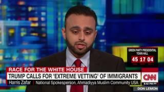 CNN: Ahmadiyya Muslim spokesperson @Harris_Zafar on Trump Immigrant vetting plans