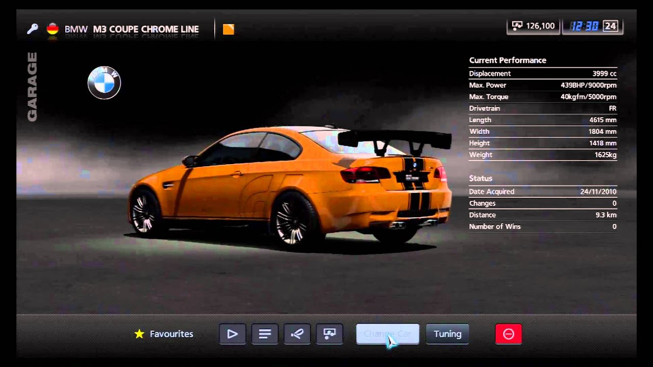 Gran turismo 5 bmw m3 coupe chrome line garage view youtube for Chrome line exterieur bmw