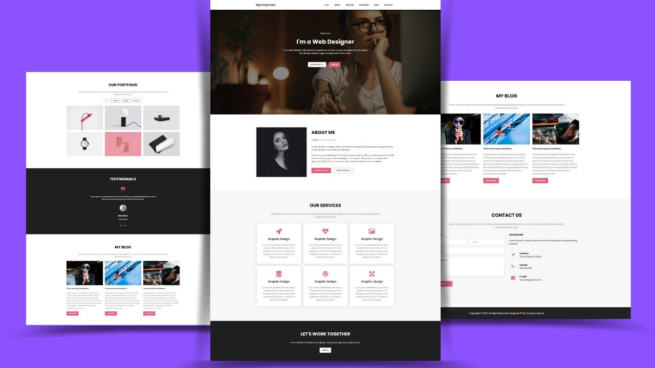 Create A Personal Portfolio Website Design Using HTML & CSS | Full Page Website Design In HTML CSS