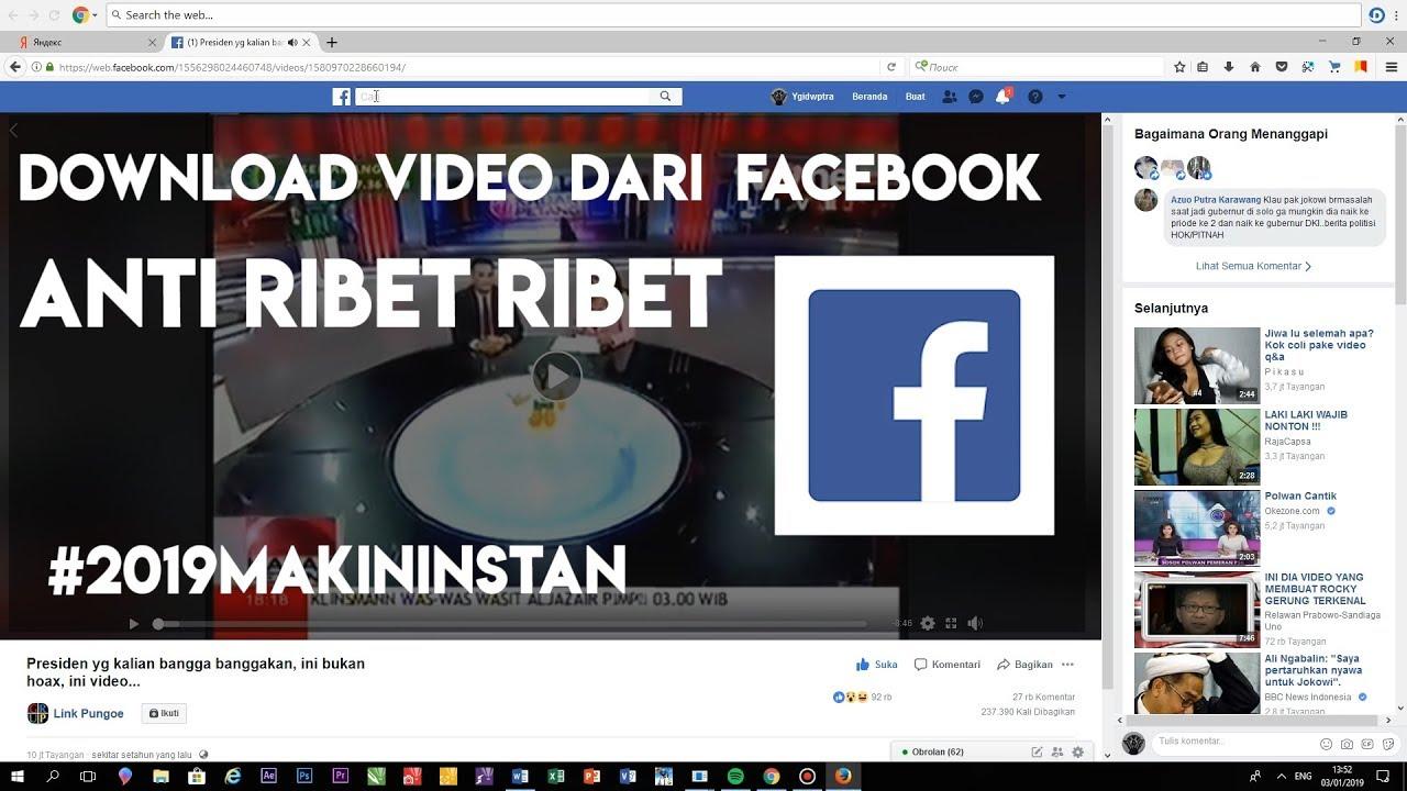 cara download video dari fb ke pc