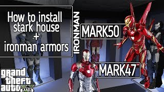 HOW TO INSTALL IRONMAN HOUSE&INFINITY WAR ARMOR FULL TUTORIAL w/ GAMEPLAY l GTA V MODS