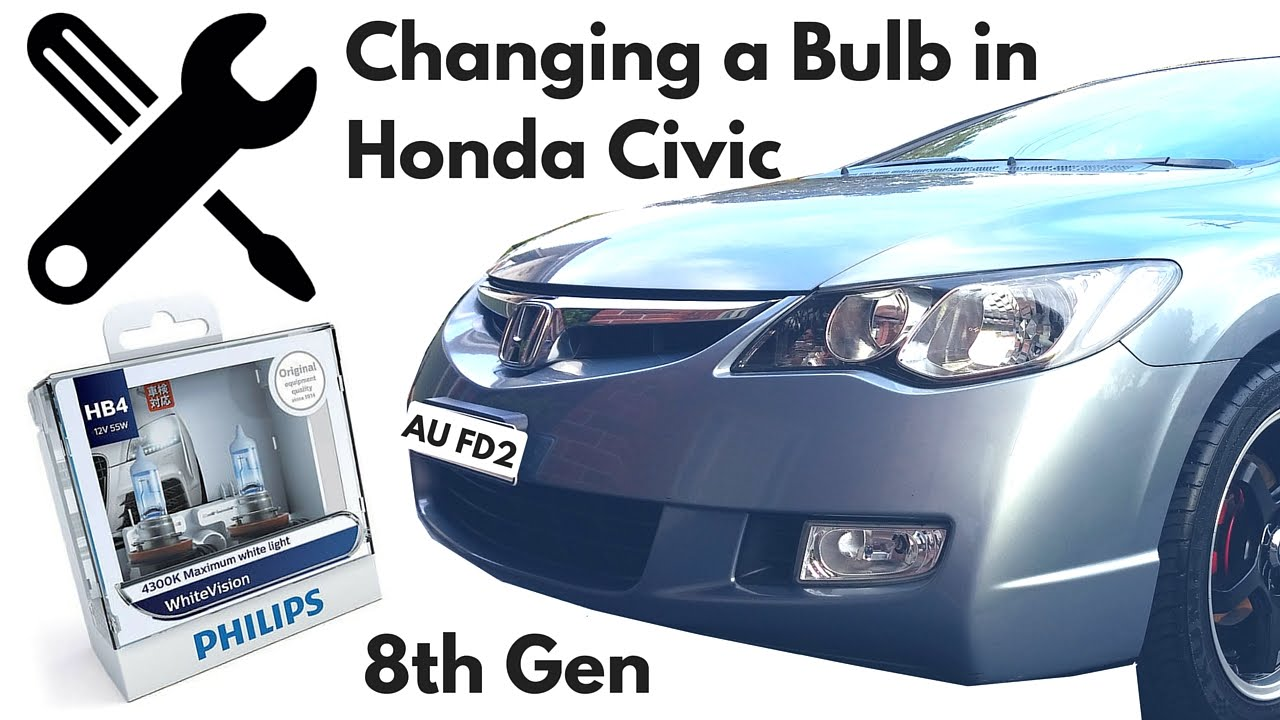 Change Headlight Bulb In A Honda Civic 2006 8th Gen Fd