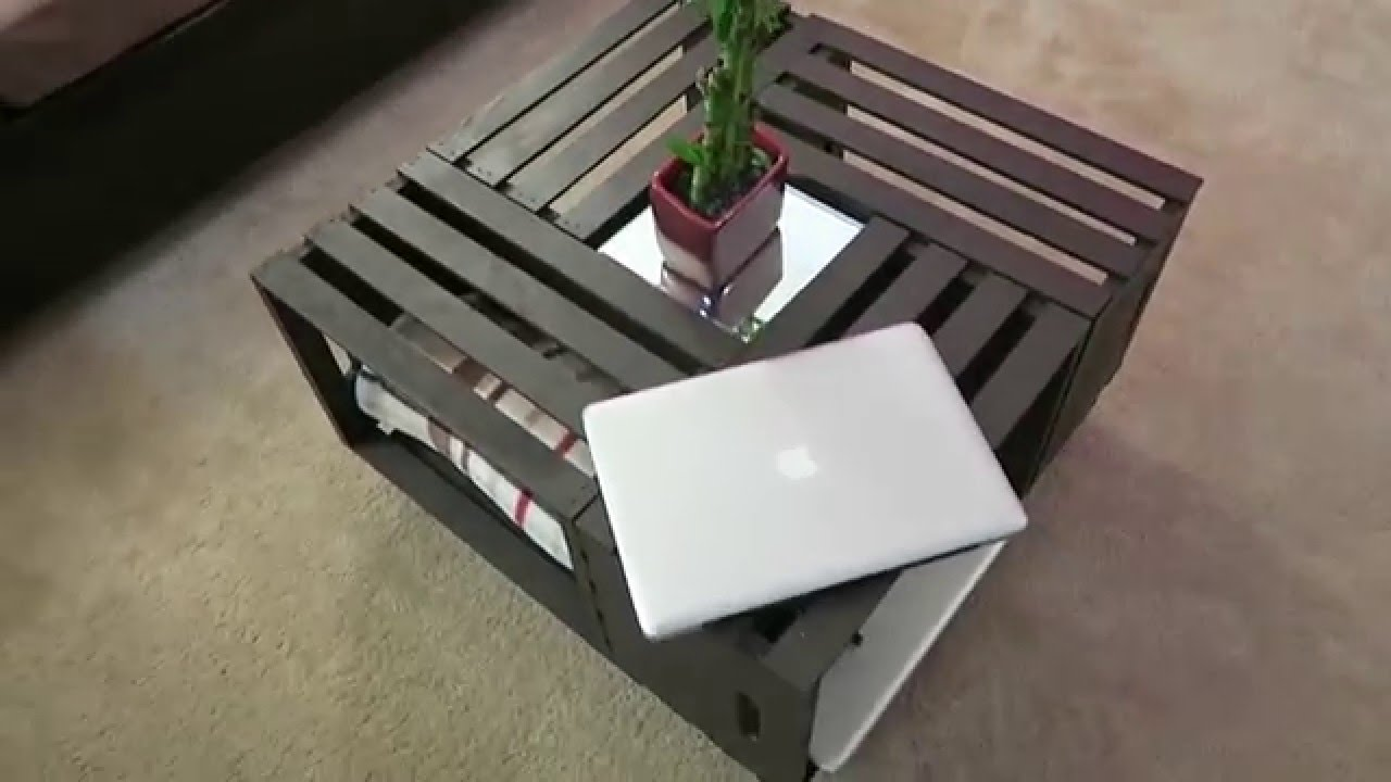 Diy coffee table wooden crates youtube for Coffee table made out of wooden crates