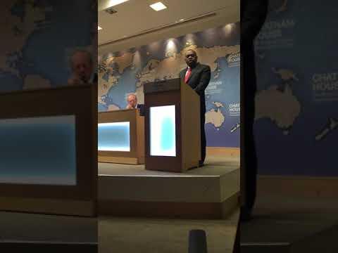 Zimbabwe's foreign affairs minister SB Moyo speaks at Chatham House