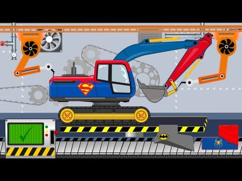 Superman Excavator | Toy Factory | Video for Kids - Koparka Superman
