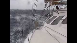 bare poles 35 knots drouge sailing catamaran cruising to fast Peter Facci Lunatic Dean cat