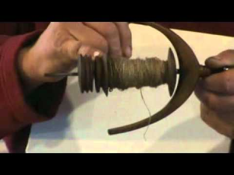 Flax spinning  part 5a, the single flyer wheel, how the flyer works