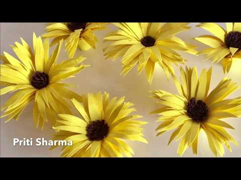 Extremely Easy Way To Make 3D Paper Sunflower Tutorial /  Paper Flower Fun For Kids | Priti Sharma